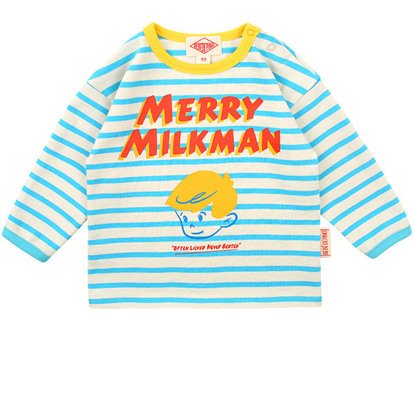 Merry milk man baby stripe long sleeve tee