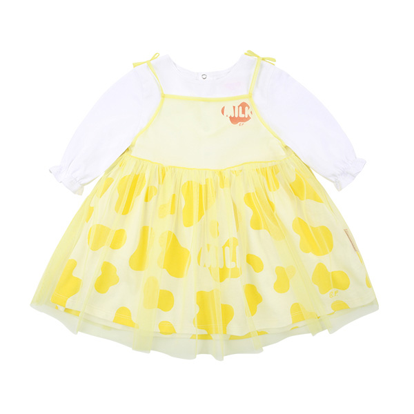 Milk pattern baby tutu ribbon dress