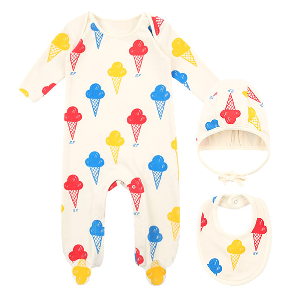 Multi ice cream newborn overall set  NEW SPRING