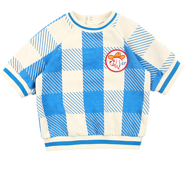 Ducky baby blue shepherd check short sweatshirt  NEW SPRING